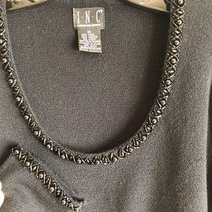 INC Long Sleeve Black Sweater with Beading